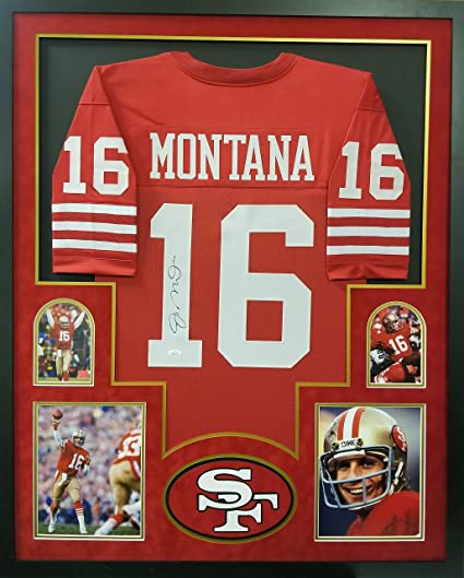 250842fa Joe Montana San Francisco 49ers Autograph Signed Custom Framed Jersey Red 4  Picture JSA Witnessed Certified