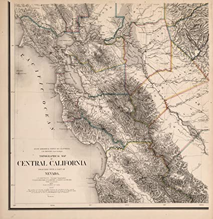 Amazon.com: Topographical Map of Central California Together ...