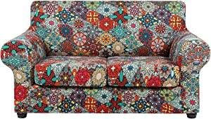 hyha Printed Couch Cover for 2 Cushion Couch - Floral Pattern Sofa Cover with Separate Cushion Cover, 3 Pieces Stretch Loveseat Slipcover Washable Furniture Protector (Loveseat, Diamond Mandala)