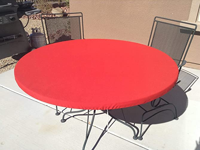 Round Fitted Tablecloth Elasticized Table Cover Solid Color Outdoor Fabric Table Cover Drawstring Stain Resistant