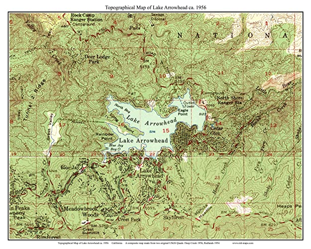 California Map Topography.Amazon Com Lake Arrowhead 1956 Old Topographic Map Usgs Custom