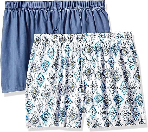 Hanro 2-Pack Fancy Woven Ikat Print Men/'s Boxer Shorts White//Blue