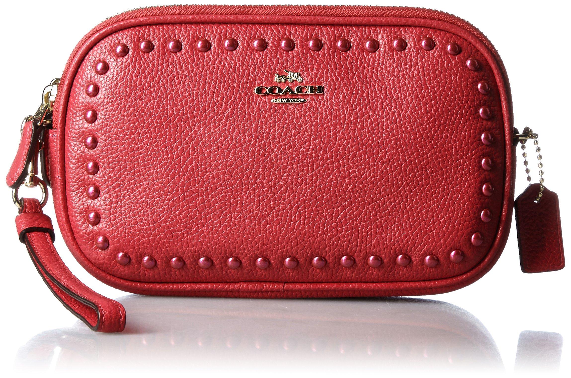COACH Women's Lacquer Rivets Crossbody Clutch Red Currant Clutch