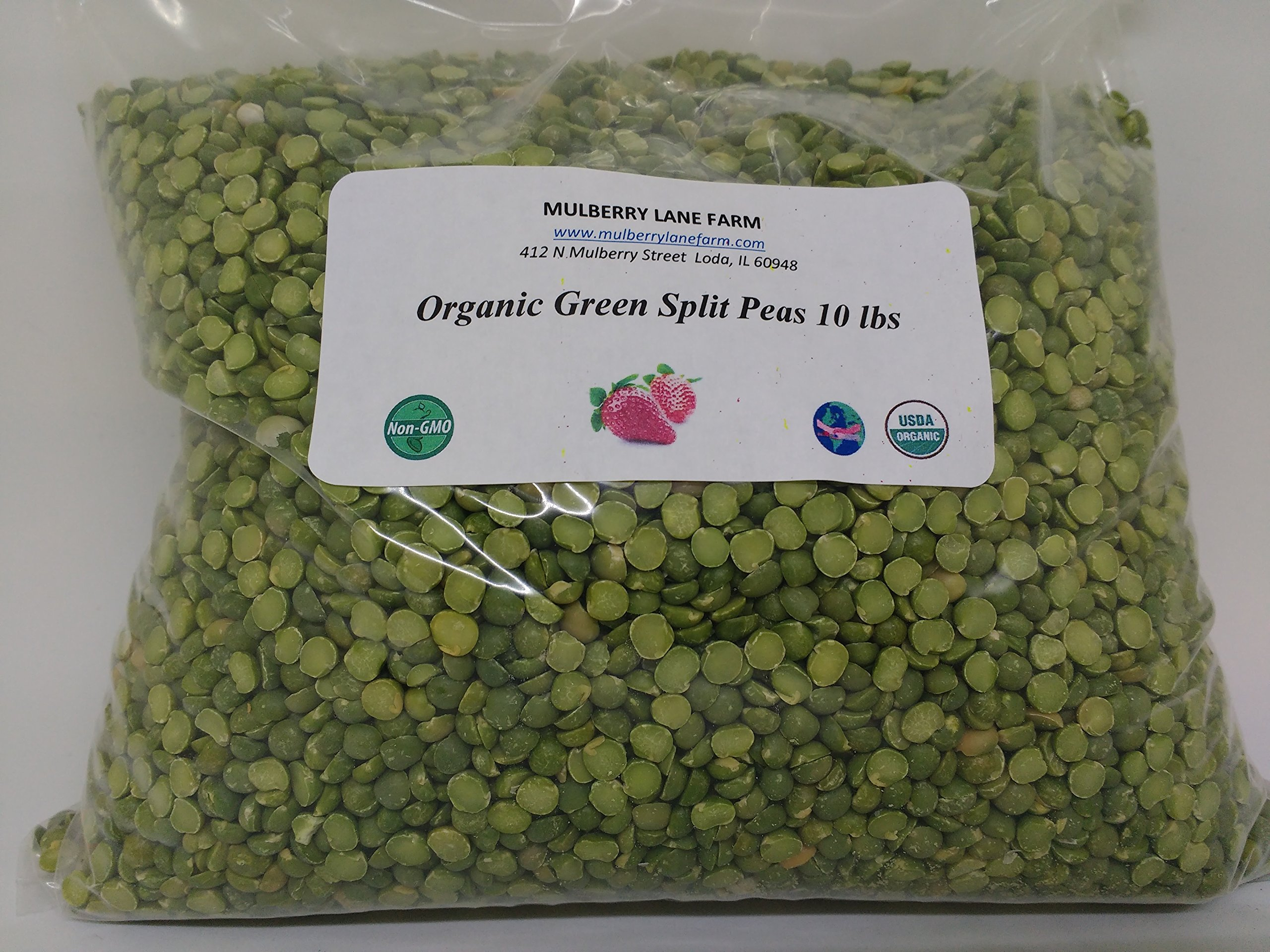 Green Split Peas 10 lbs (ten pounds) USDA Certified Organic, Non-GMO, BULK