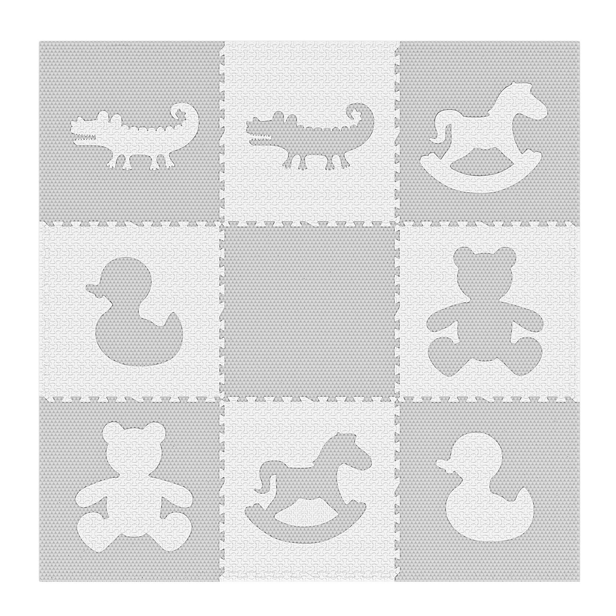 Extra Large Textured Jumbo Size 73'' x 73'' Puzzle Play Mat EVA Foam Non-Toxic Waterproof Interlocking Tiles Exercise & Learn Modern Style - Grey/White by Weizzer Toys