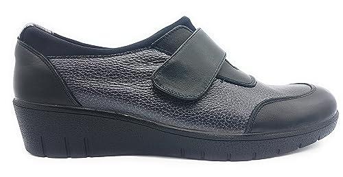 DOCTOR CUTILLAS 45607 Zapato Velcro CUÑA Mujer Negro 37