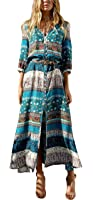 R.Vivimos Women Summer Button up Floral Print Split Beach Maxi Dresses