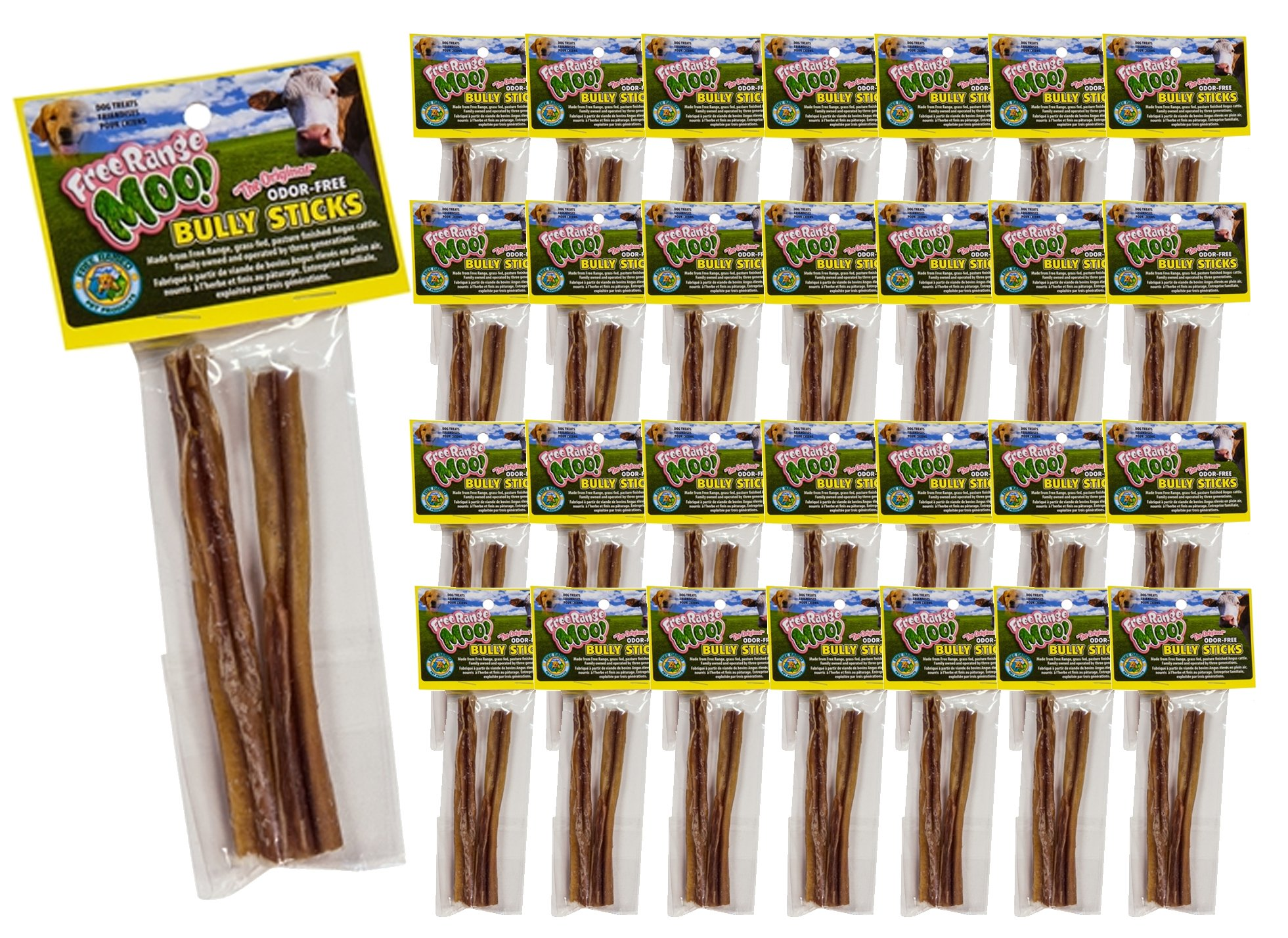 Free Raised Pet Products, 5-6 inch Standard Bully Stick Twin Pack, 60 Bully Sticks