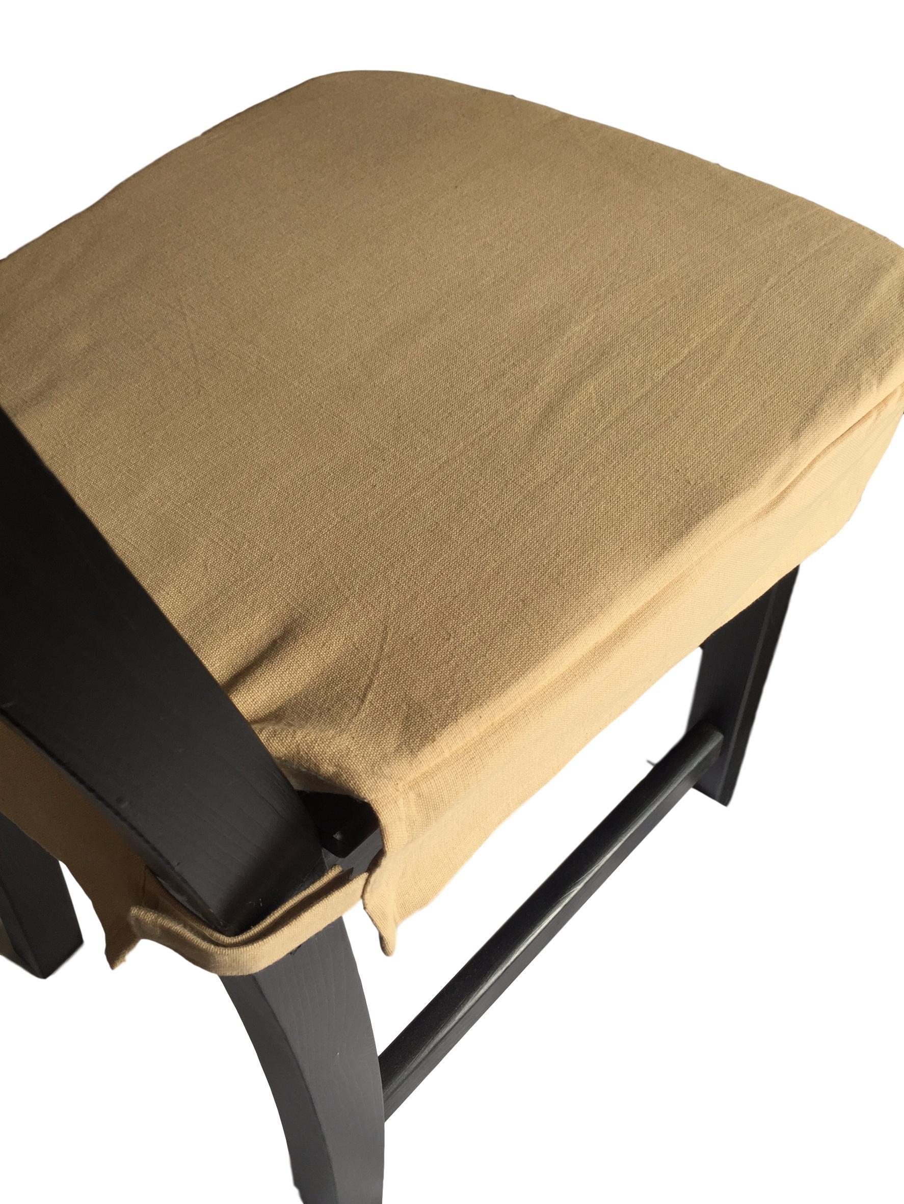 4 Chair Pads 100% Cotton (Beige)
