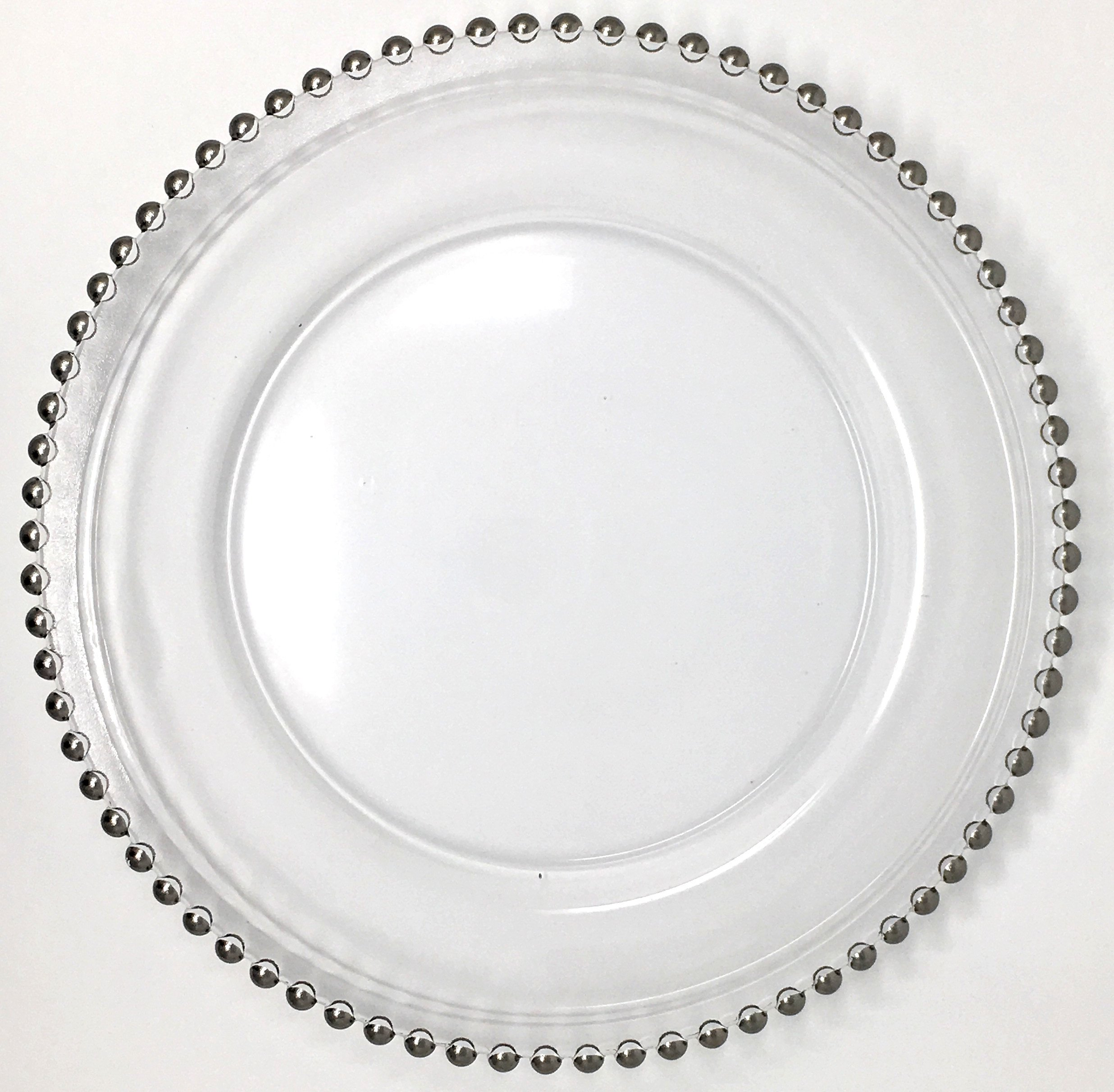 Beautiful Glass Dinnerware Formal 13-Inch Silver Beaded Rim Clear Glass Charger Plate Wedding Party Dinner Modern Appeal Glass Plates (12)