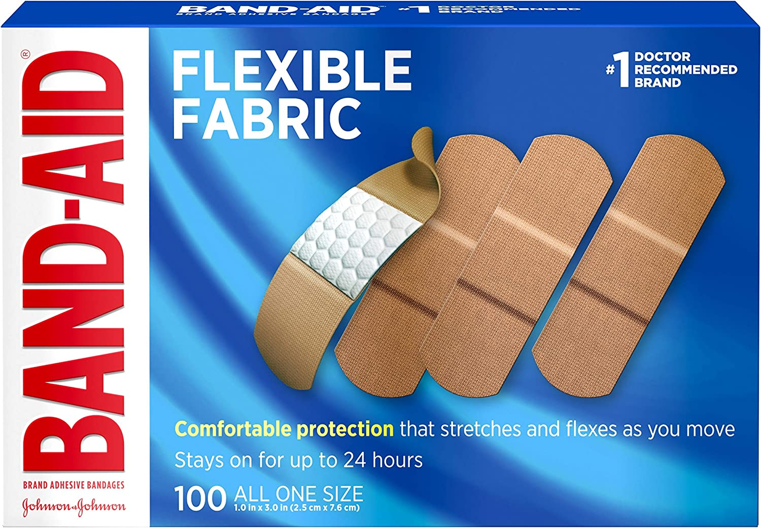 B00006IDL6 Johnson & Johnson Band-Aid Brand Flexible Fabric Adhesive Bandages for Wound Care and First Aid, All One Size, 100 Count, Tan 91nHT-VLyPL