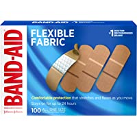 Johnson & Johnson Band-Aid Brand Flexible Fabric Adhesive Bandages for Wound Care and First Aid, All One Size, 100 Count