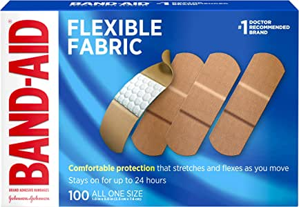 Johnson & Johnson Band-Aid Brand Flexible Fabric Adhesive Bandages for Wound Care and First Aid, All One Size, 100 Count, Tan