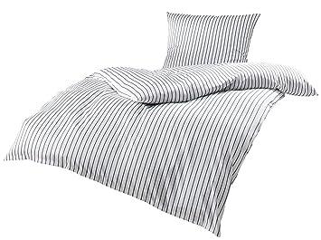 Mako Satin Bettwäsche Grau Weiß Gestreift 155x220 80x80 Cm 100