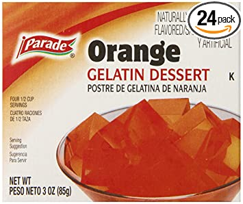 Parade Orange Gelatin, 3 Ounce (Pack of 24)