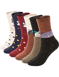 e3d695b699b37 6 Pack Womens Winter Warm Socks Soft Casual Thick Wool Crew Socks (Cute  Wolf &