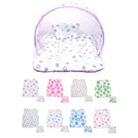 Baby Fly New Born Baby Combo Pack of 1 Purple Strawberry Print Mosquito Net Bed/Toddler Mattress & 8 Baby Jhabla/Vest with 8 Nappies(0-8 Months)
