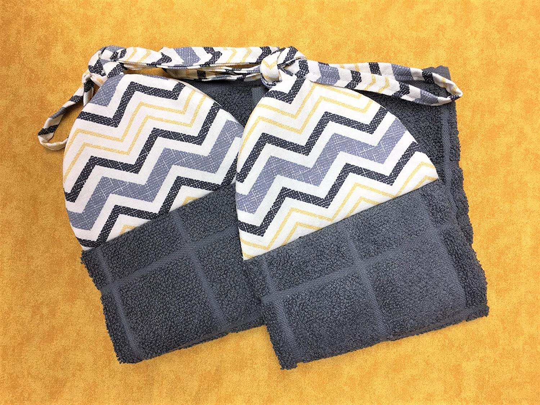 Set of 2 Grey Gray Yellow Black Chevron Kitchen Ties On Stays Put Hanging Loop Hand Dish Towels