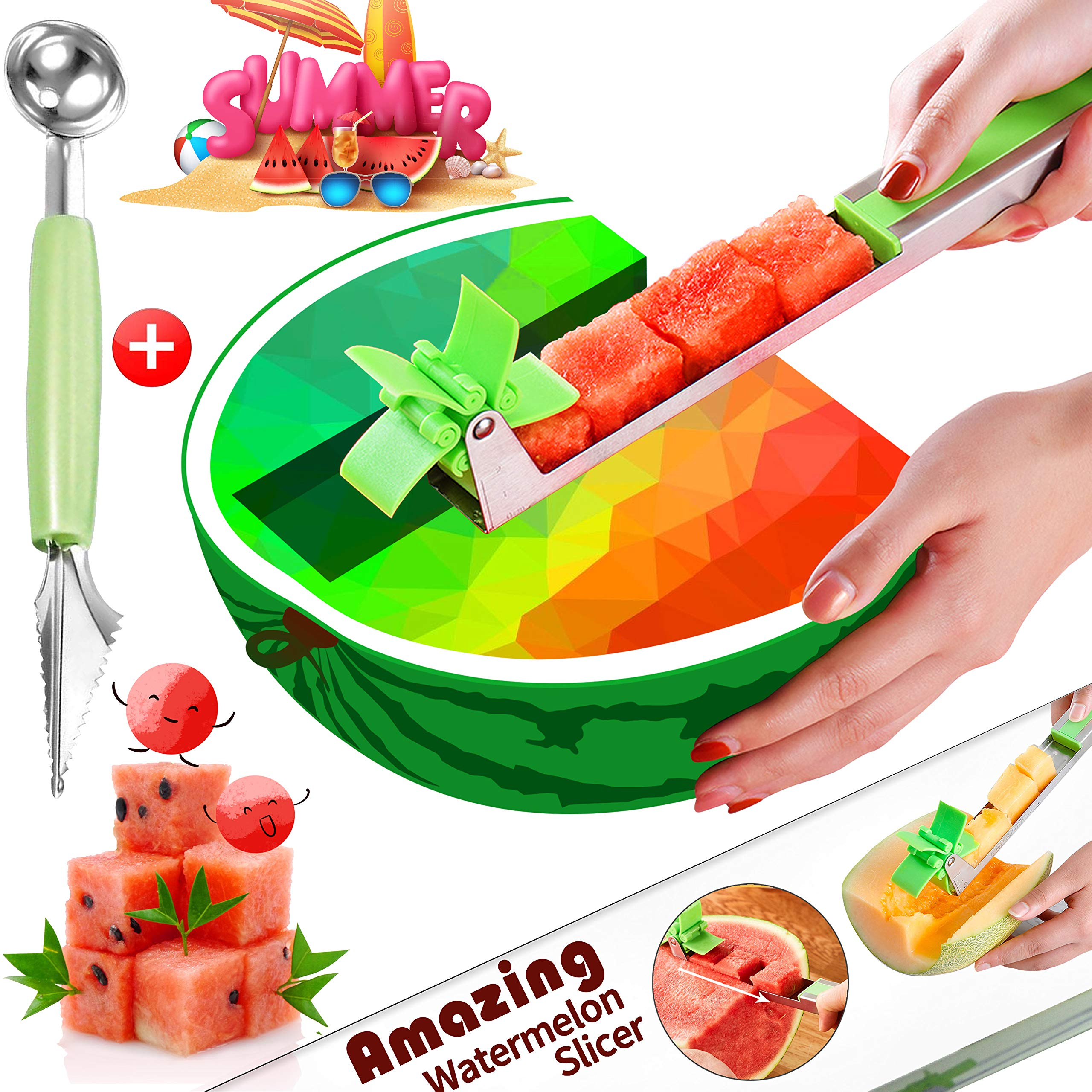 Watermelon Windmill Cutter Slicer Stainless Steel Watermelon Slicer Fruit Tools Kitchen Gadgets FDA Approved & BPA Free by TMABOX