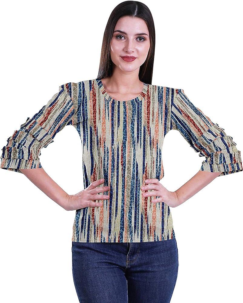 Moomaya Camisa Estampada Mujer Fiesta Top Camiseta Corta Ropa De Verano: Amazon.es: Ropa y accesorios