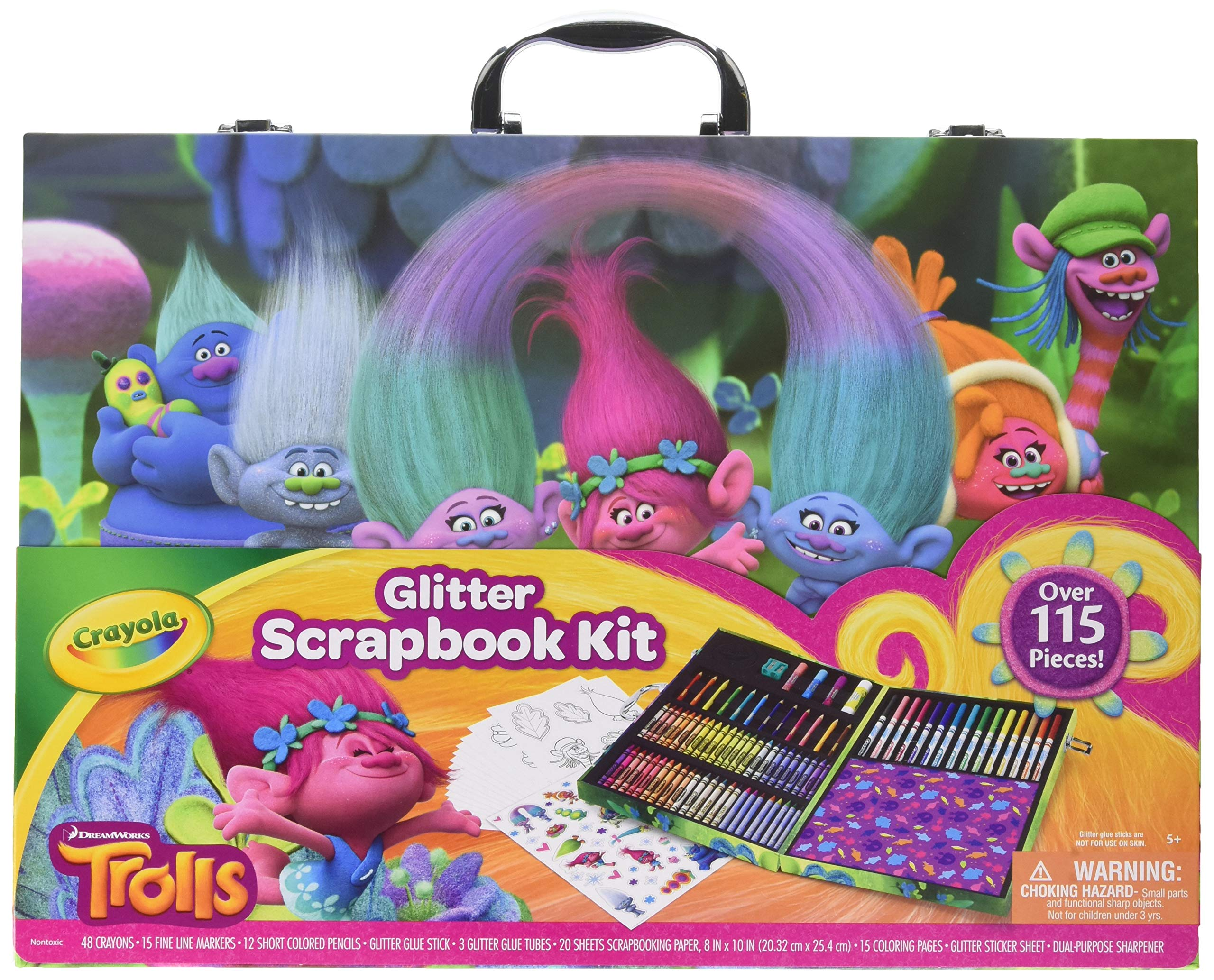Crayola 1836532 Dreamworks Trolls Glitter Scrapbook Kit, 115+ Pieces Art Gift for Kids 5 & Up, Includes Crayons, Markers, Colored Pencils by Crayola