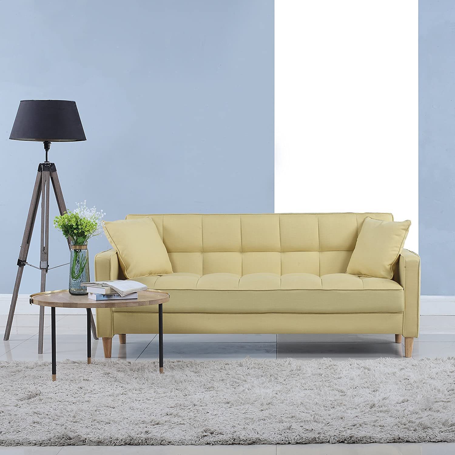 Yellow Living Room Furniture Amazoncom Modern Linen Fabric Tufted Small Space Living Room