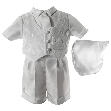 52496ee02a1 Lauren Madison Baby Boys  Christening Baptism 3 Piece Shantung Short Set  Outfit