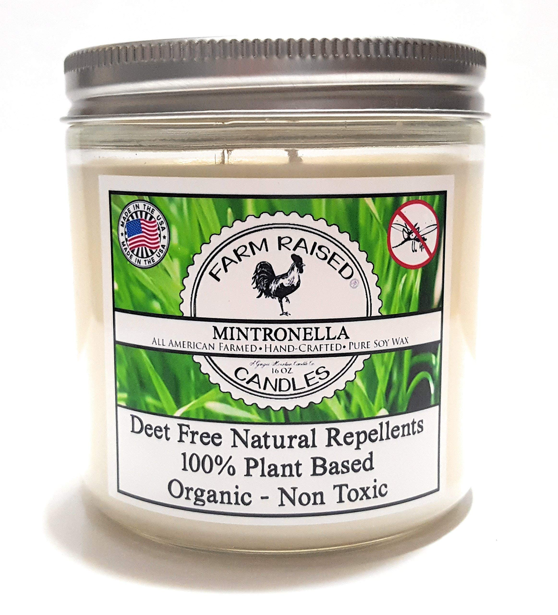 Mintronella Essential Oil Mosquito Repellent 100% Natural Soy Deck Party Patio Candle 80 Hr Large 16oz Citronella, Rosemary, Lavender-Mint. All American Made Includes Essential oils (1 Pack)