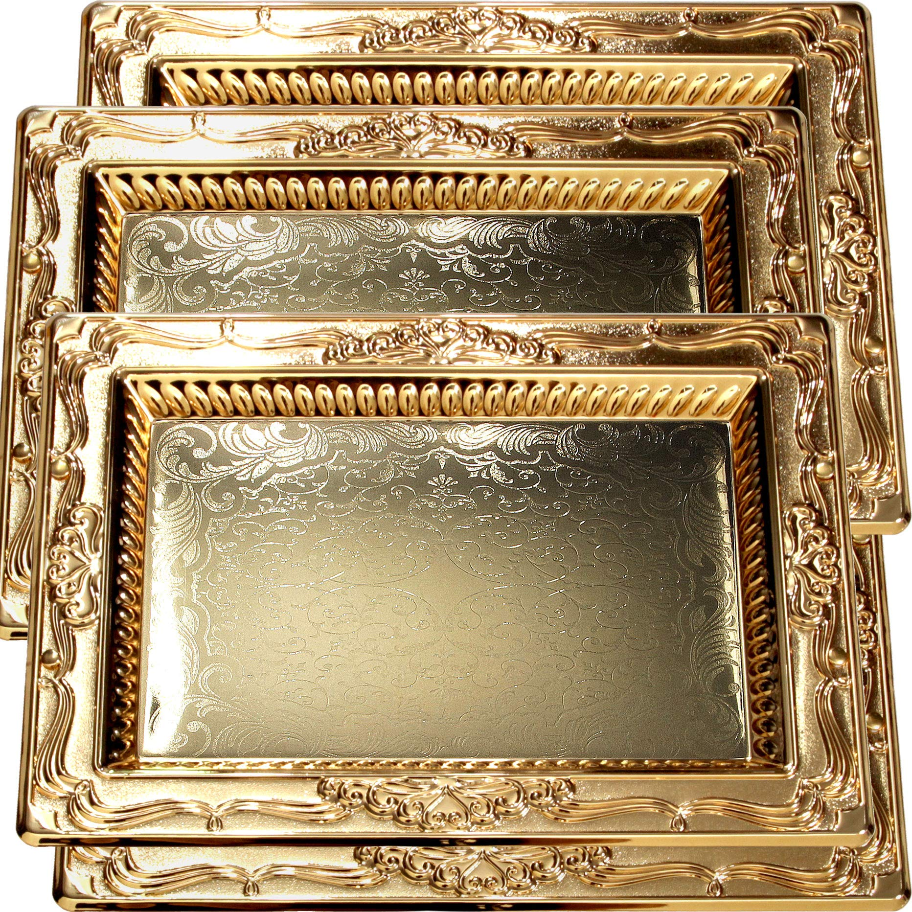 Maro Megastore (Pack of 4) 18.5-Inch x 13.8-Inch Special Rectangular Iron Gold Plated Serving Tray Vintage Floral Edge Engraved Decorative Wedding Birthday Buffet Party Snack Platter 2486 M Tla-068