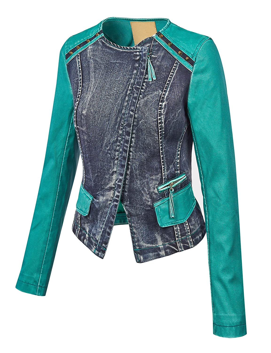 Made By Johnny WJC1015 Womens Collarless Faux Leather Washed Denim Moto Jacket XS Turquoise at Amazon Womens Coats Shop