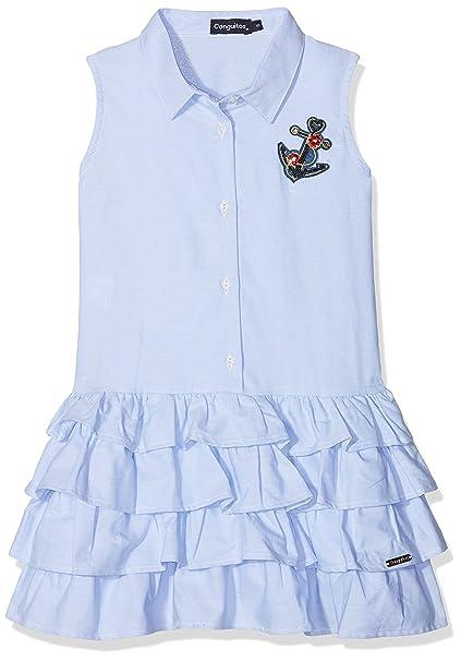 Conguitos Camisero Niña, Vestido para Niñas, Azul (Celeste), 104 (Tamaño