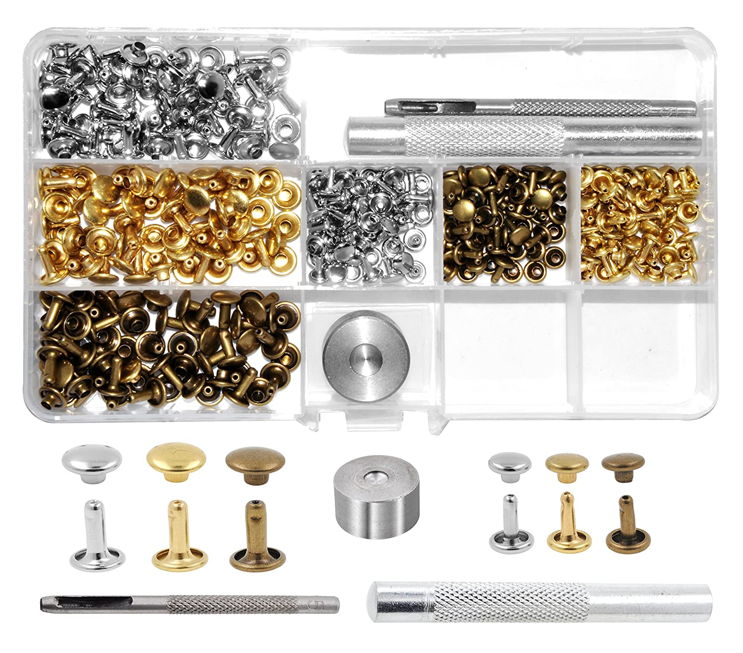 Mandala Crafts Assorted Tubular Metal Rivet Studs & Hole Punch Tool Kit Set for Leather Repair and Clothing Decoration (6mm 8mm, Silver Gold Antique Bronze)