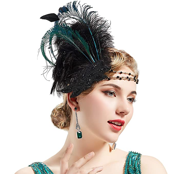 Sequin Flapper Roaring 20s Feathers Headband Feathered Costume Gatsby Accessory