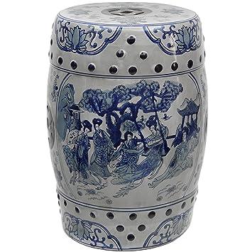 Oriental Furniture 18u0026quot; Ladies Blue u0026 White Porcelain Garden Stool  sc 1 st  Amazon.com & Amazon.com: Oriental Furniture 18