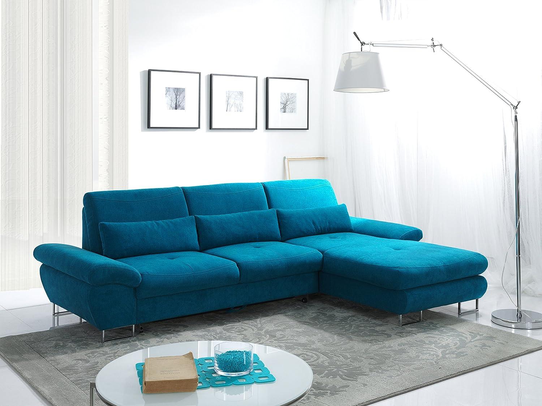 Rabatti Reggio Sofa Couch mit Schlaffunktion, verstellbarer Armlehne, Luxus Designer Sofa, Ottomane Rechts, kunstleder / Stoff Freie Auswahl, Inklusive Kissen