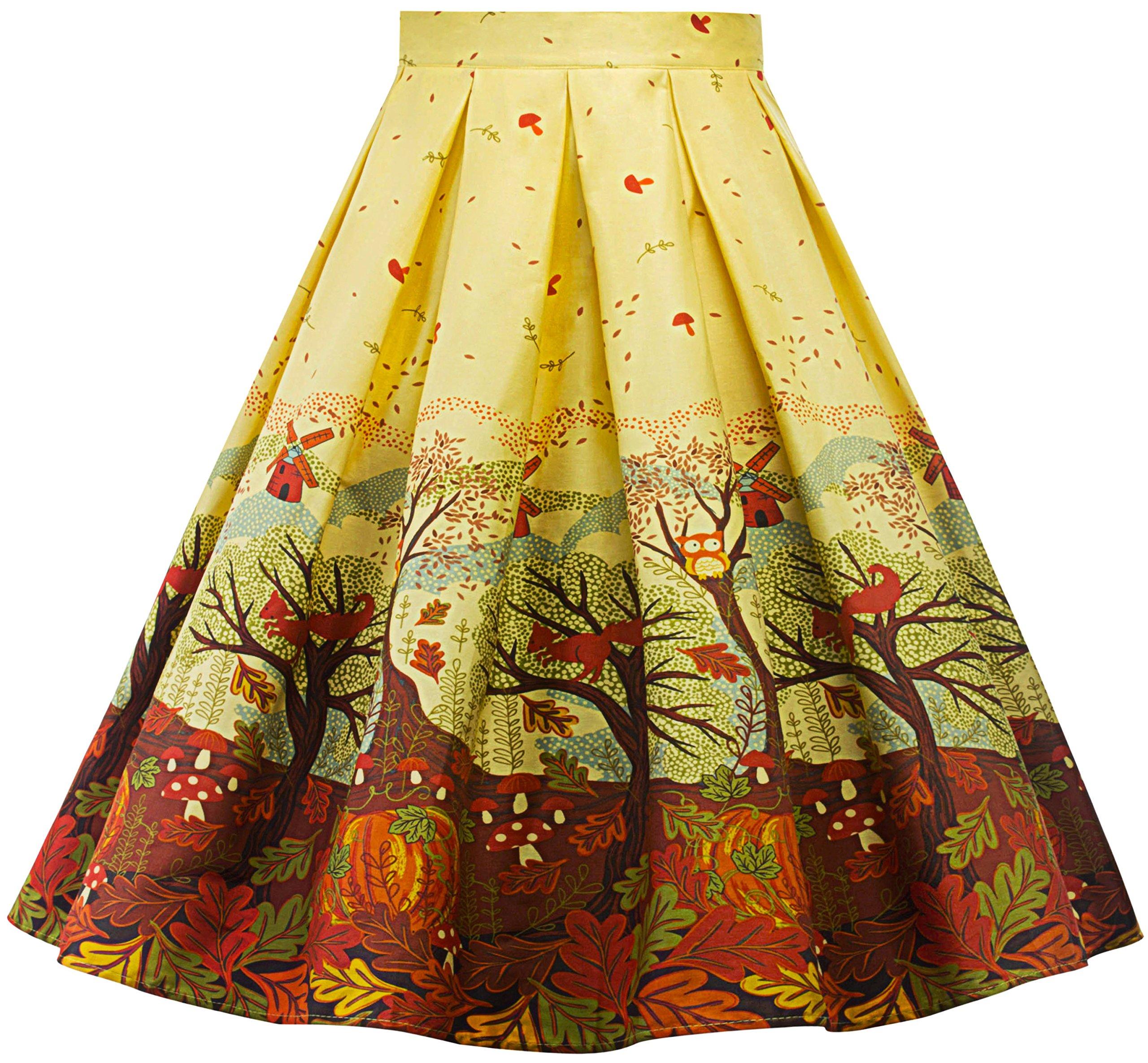 Womens Vintage a Line Skirt High Waist Pleated Flared Midi Skirts R02 (Yellow, L)