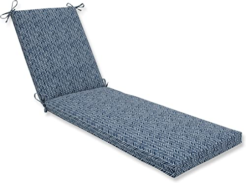 Pillow Perfect Outdoor Indoor Herringbone Ink Chaise Lounge Cushion, 80 x 23 , Blue