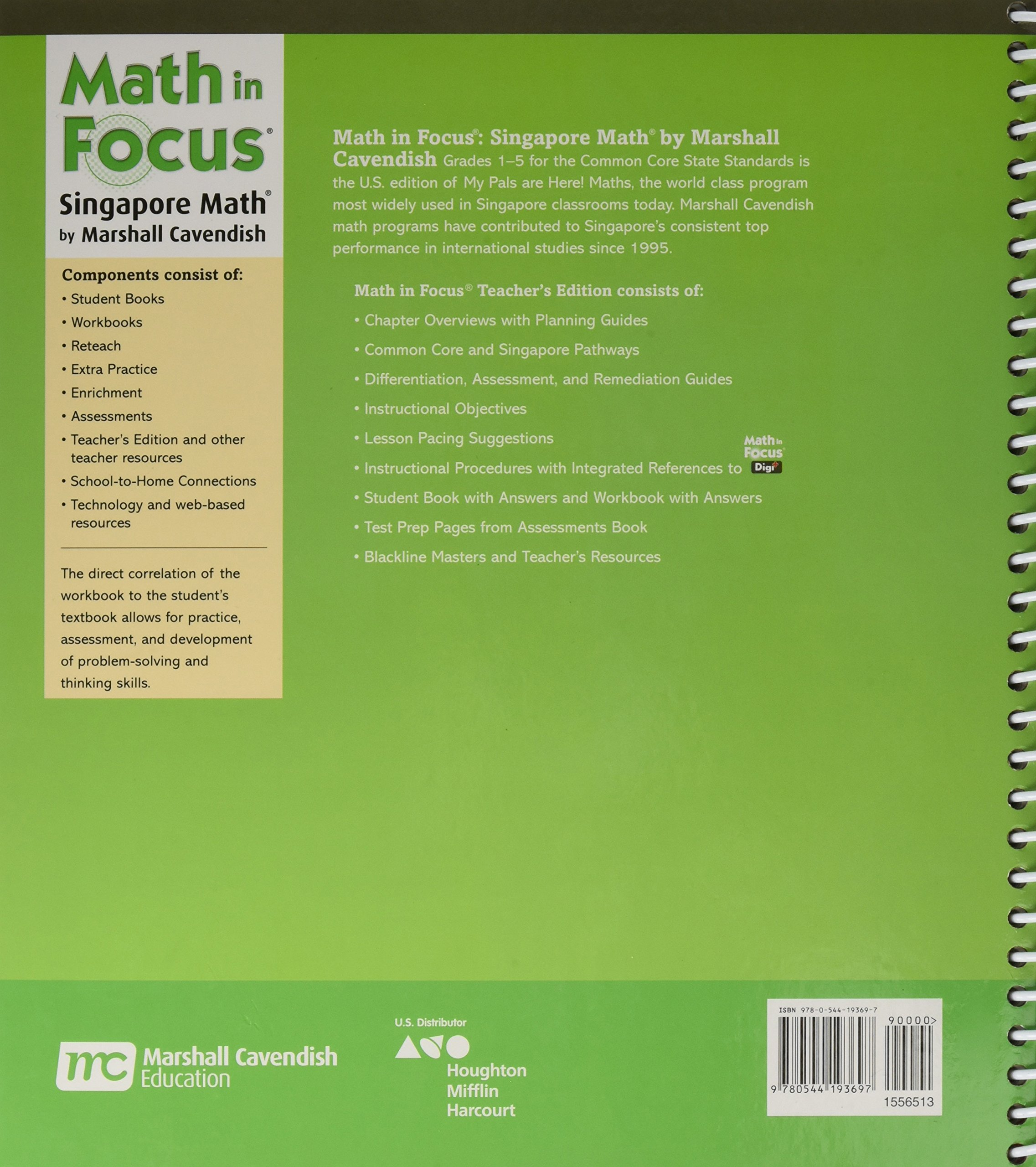 Math in Focus: Singapore Math: Teacher Edition, Book A Grade 3 2015:  9780544193697: Amazon.com: Books