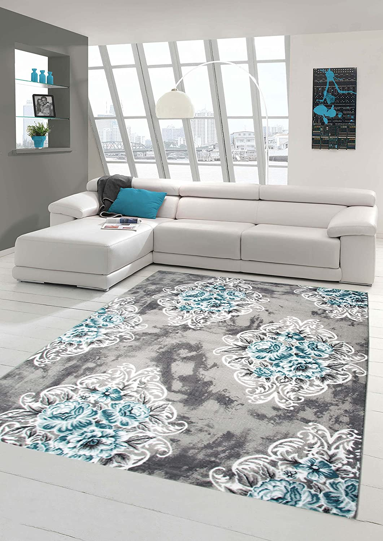Moderner Teppich Designer Teppich Orientteppich mit Glitzergarn Wohnzimmer Teppich mit Ornamente und Blumen in Grau Creme Türkis Größe 200 x 290 cm