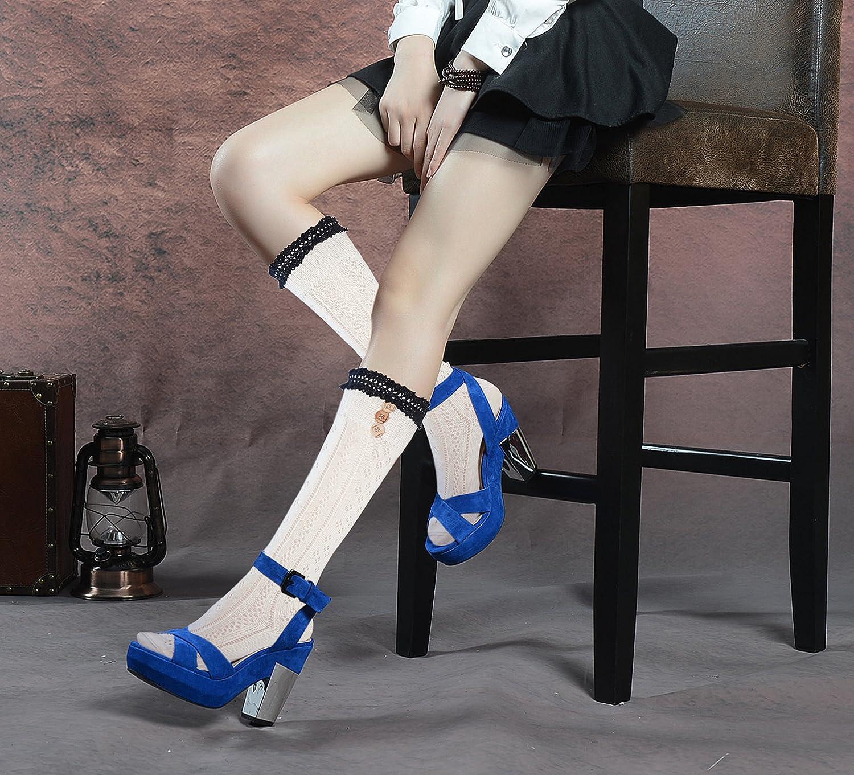 d276a8aa263 Mujeres rodilla calcetines altos con encaje de algodón y botones 40357-6.  Ampliar imagen