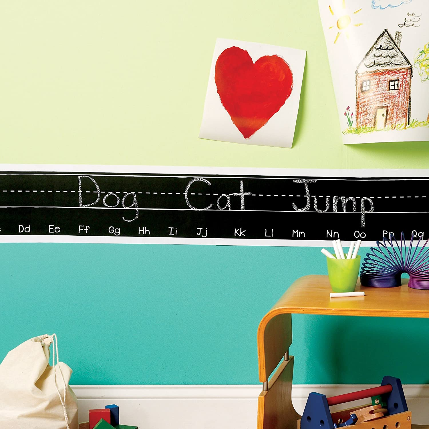 Amazon Wallies Peel and Stick Alphabet Chalkboard Border Wall