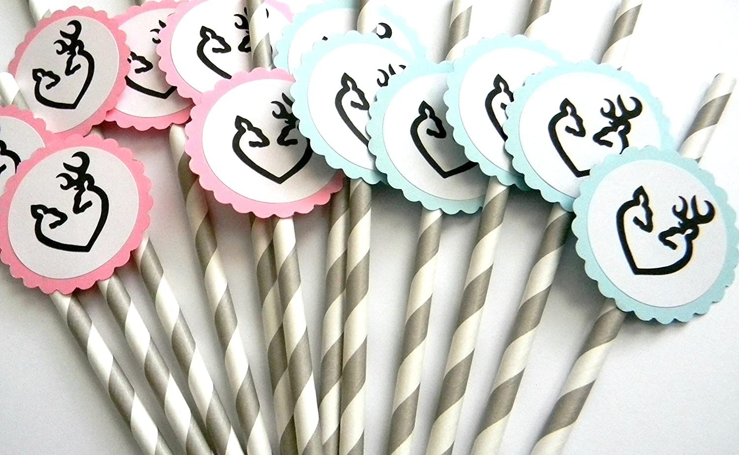 Set of 12 Doe and Buck Party Straws