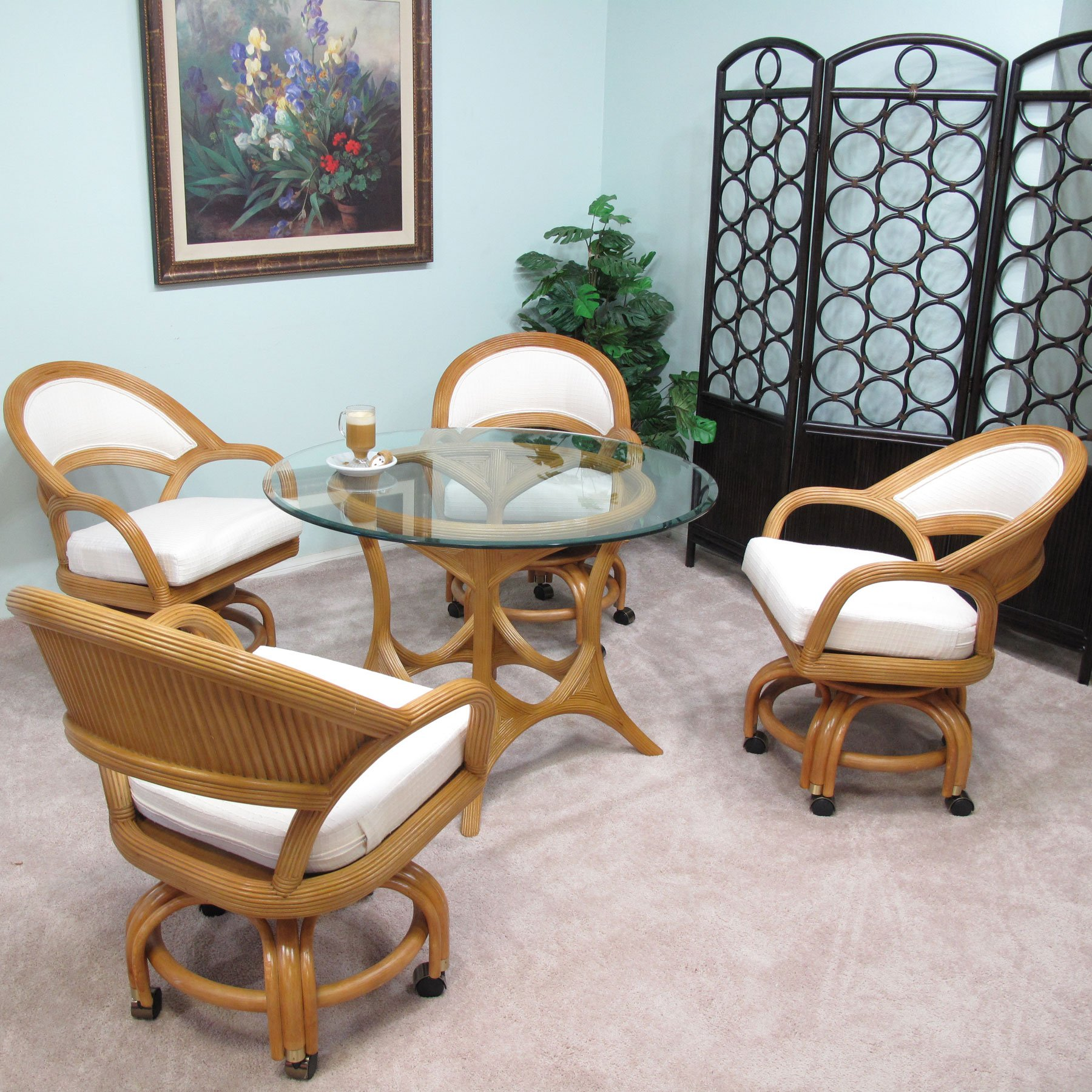Made in USA Rattan Finese Dining Caster Chair Table Gaming Furniture 5PC Set