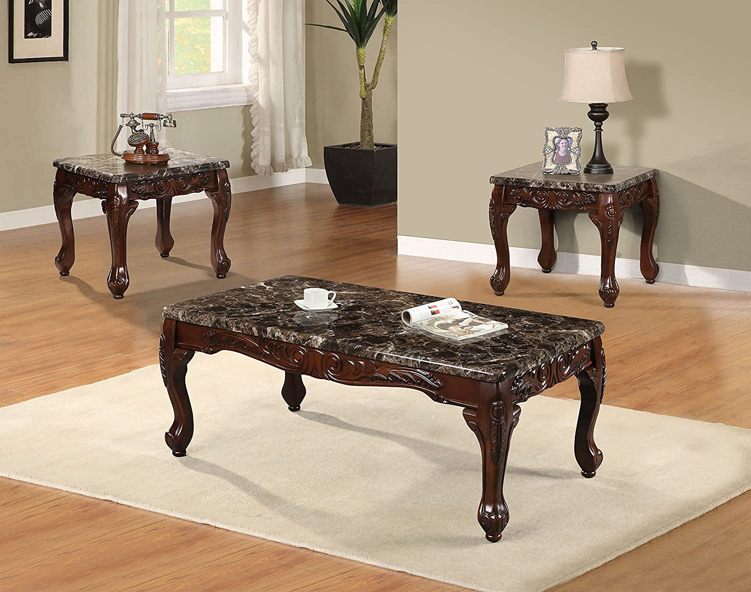 Amazon com best quality furniture ct487 faux marble coffee and 2 end table set set of 3 cherry kitchen dining