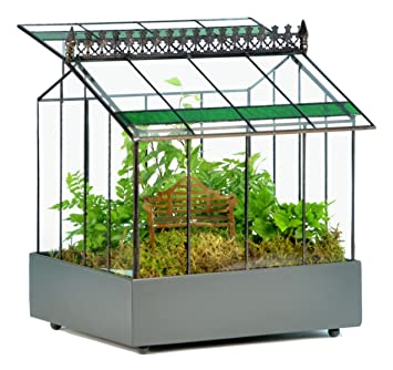 H Potter Glass Terrarium Case Planter Wardian Container With Green