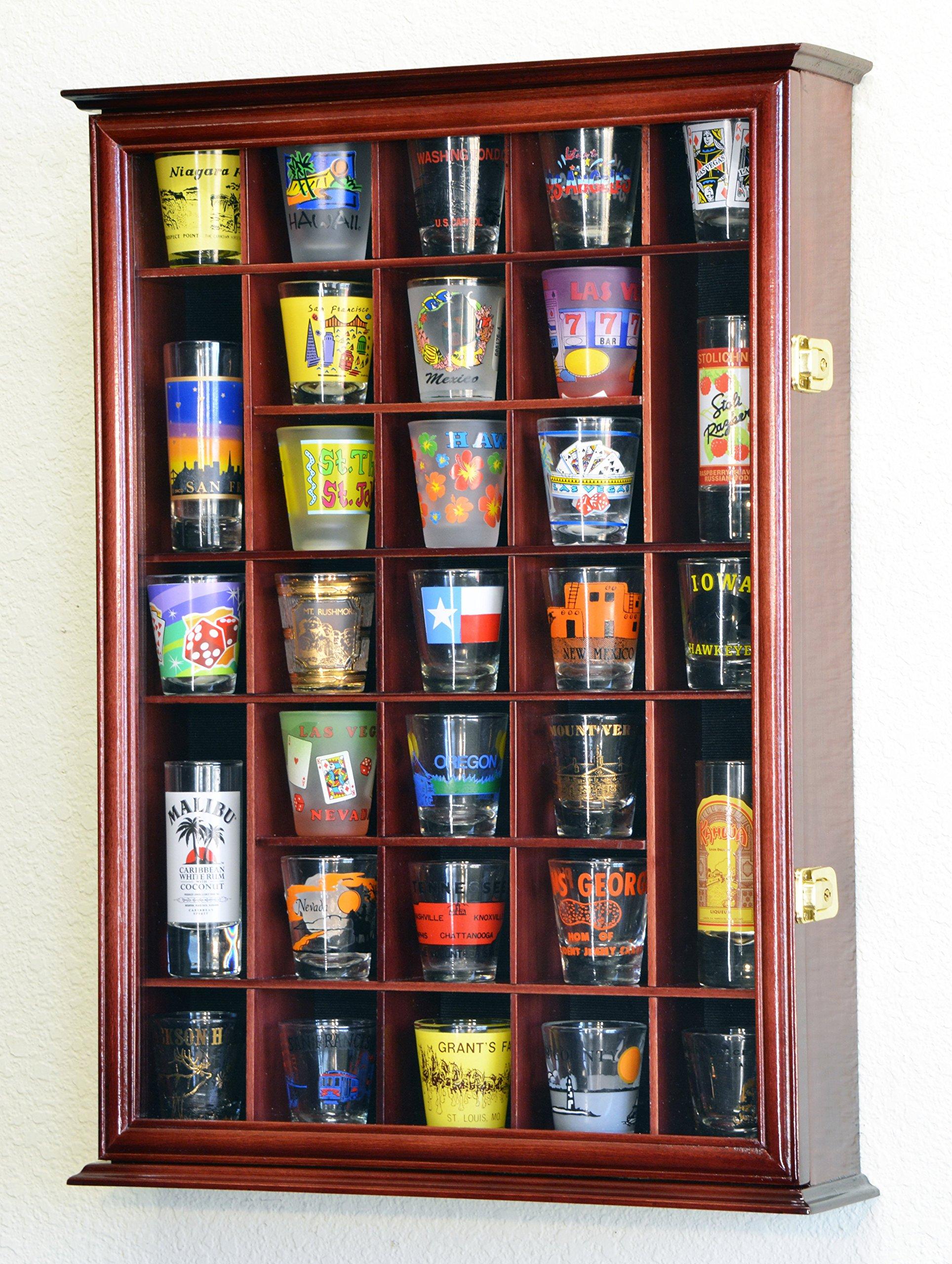 31 Shot Glass Shotglass Shooter Display Case Holder Cabinet Wall Rack -Cherry