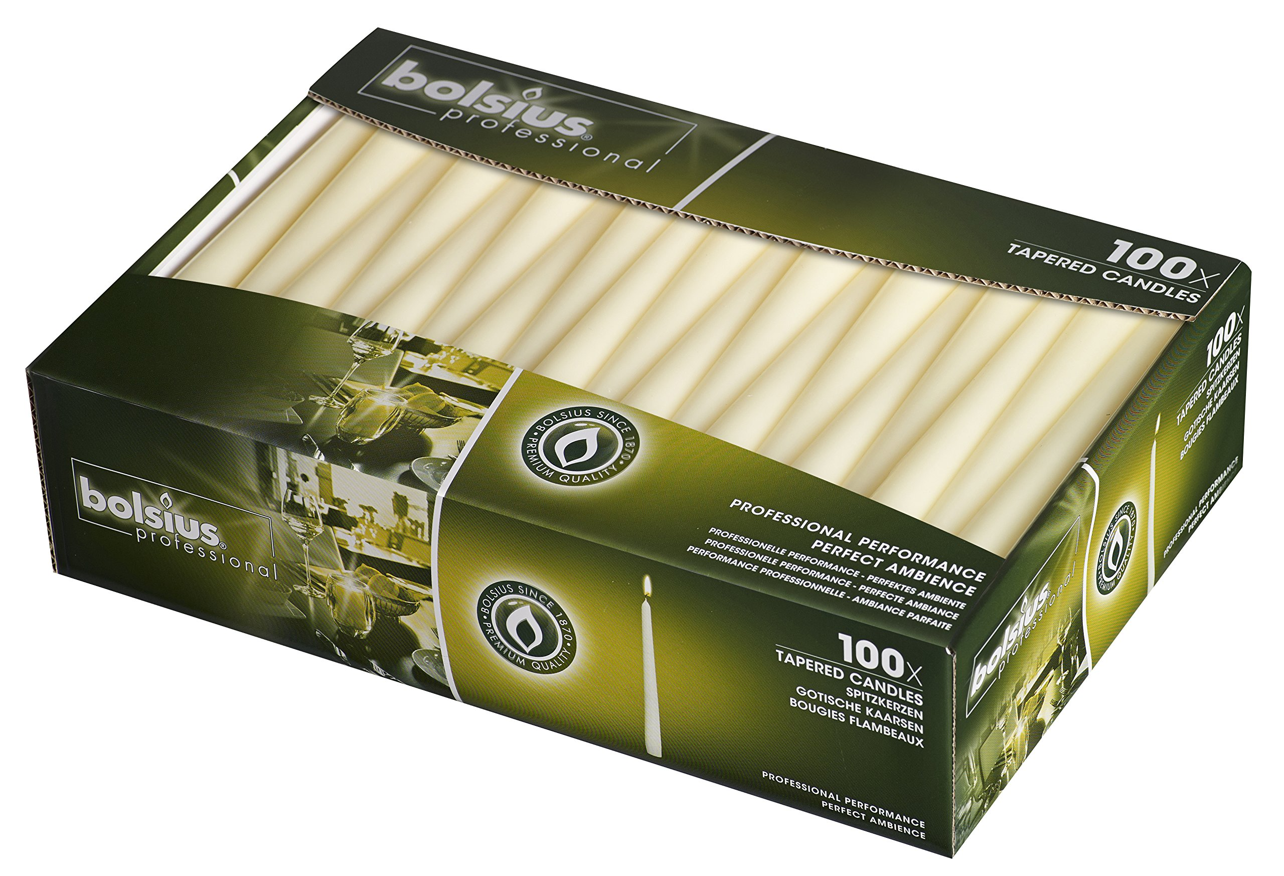 BOLSIUS Long Household Ivory Taper Candles - 10-inch Unscented Premium Quality Wax - 7.5 Hour Long Burning Dripless Candles Bulk Pack of 100 for Home Decor, Wedding, Parties and Special Occasions by BOLSIUS