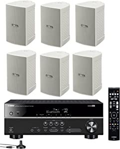 Yamaha 5.1-Channel Wireless Bluetooth 4K A/V Home Theater Receiver + Yamaha Natural Sound High Performance 2-Way Indoor/Outdoor Weatherproof Speakers (Set of 6)
