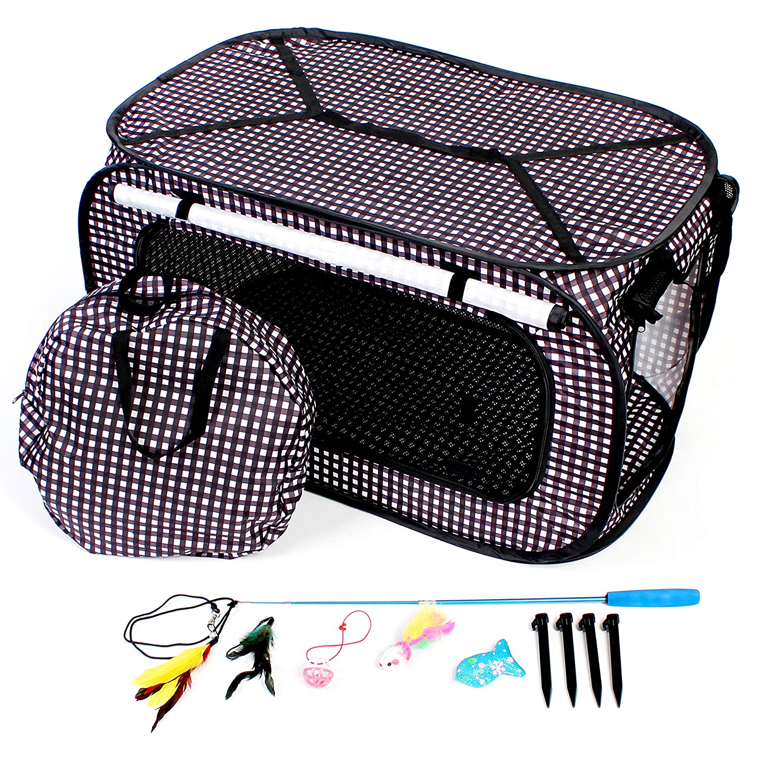 Checkerboard CHEERING PET Cat Cage Extra Large Collapsible Portable Cat Cage Condo Car Box, Checkerboard Design Great for Cross Country Trips, Includes Extra Activities 32 x 19 x 19