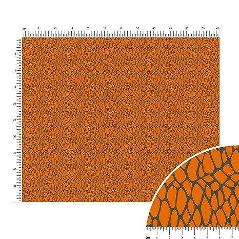 Báscula de piel de serpiente algodón Popelina tela en fuscous gris de tigre naranja – retales